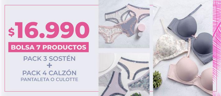 Bolsa 7 : pack calcetin- pijama -pack sosten - pack calzon